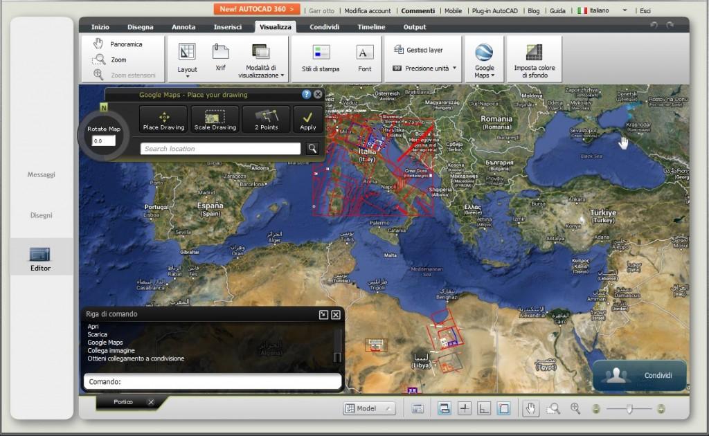 Schermata con l'opzione Maps attivata