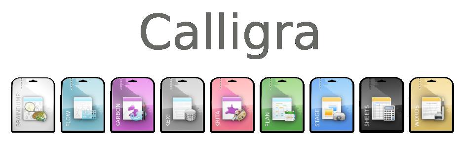 Banner con le miniature delle applicazioni. Fonte Calligra.org